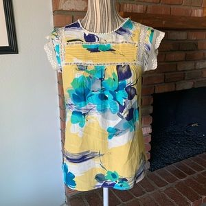 Anthropologie Meadow Rue Yellow Blue Floral XXSP